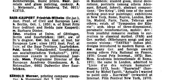 """Eintrag zu Friedrich Wilhelm Baer-Kaupert im """"Who's who in Germany"""" von 1974 aus dem Oldenbourg Verlag"""