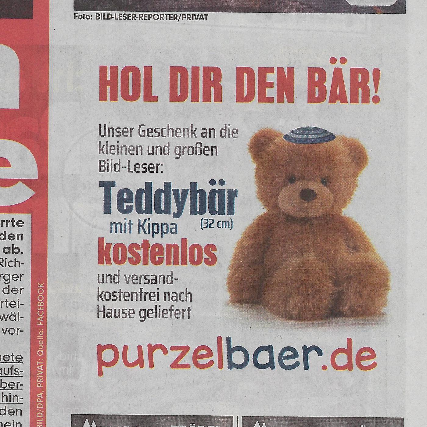 Inserat in der Bild: Teddybär mit Kippa zu verschenken