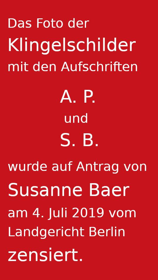Klingelschilder von Susanne Baer und Andreas Paulus
