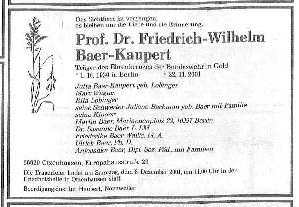 Todesanzeige für Friedrich Wilhelm Baer-Kaupert in der Saarbrücker Zeitung vom 28. November 2001